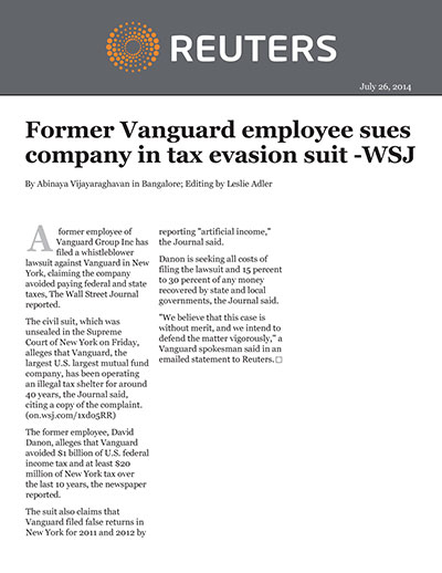 Former Vanguard employee sues company in tax evasion suit