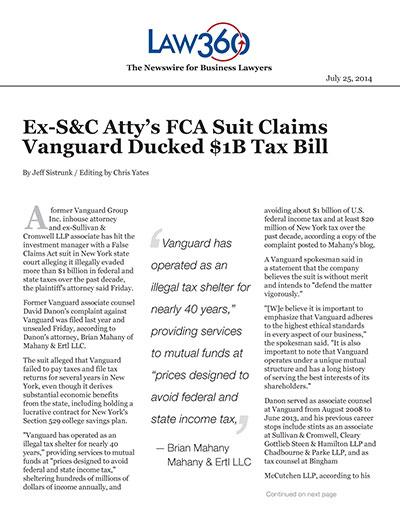 Ex-S&C Atty's FCA Suit Claims Vanguard Ducked $1B Tax Bill