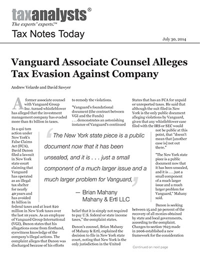 Vanguard Associate Counsel Alleges Tax Evasion Against Company