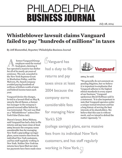"Whistleblower lawsuit claims Vanguard failed to pay ""hundreds of millions"" in taxes"