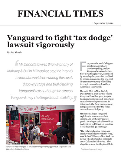 Vanguard to fight 'tax dodge' lawsuit vigorously