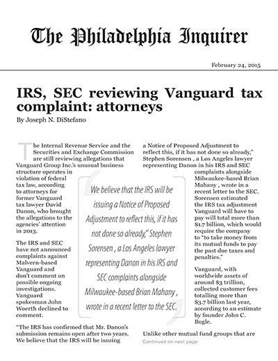 IRS, SEC reviewing Vanguard tax complaint: attorneys