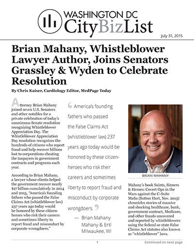 Brian Mahany, Whistleblower Lawyer Author, Joins Senators Grassley & Wyden to Celebrate Resolution