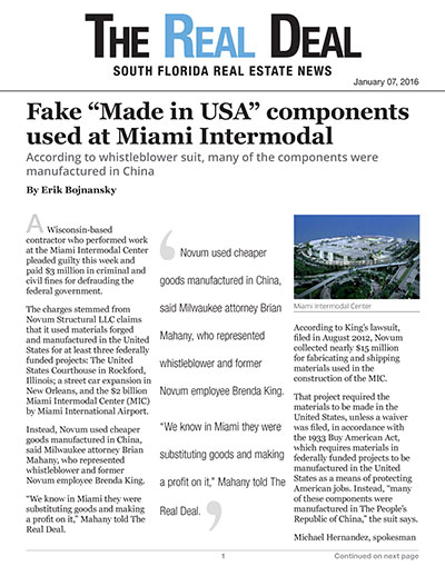 "Fake ""Made in USA"" components used at Miami Intermodal"