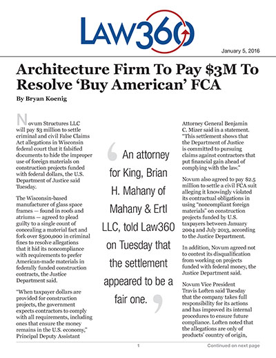 Architecture Firm To Pay $3M To Resolve 'Buy American' FCA