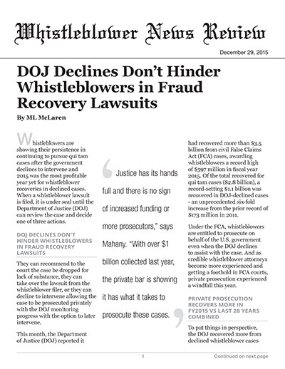 DOJ Declines Don't Hinder Whistleblowers in Fraud Recovery Lawsuits