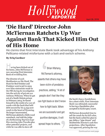 'Die Hard' Director John McTiernan Ratchets Up War Against Bank That Kicked Him Out of His Home