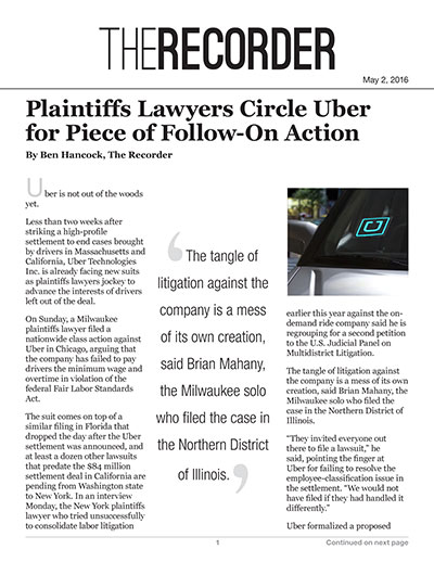 Plaintiffs Lawyers Circle Uber for Piece of Follow-On Action