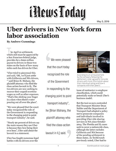 Uber drivers in New York form labor association