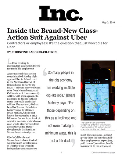 Inside the Brand-New Class-Action Suit Against Uber