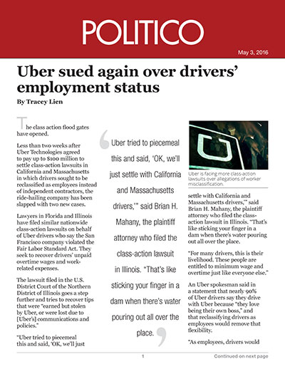 Two new suits against Uber