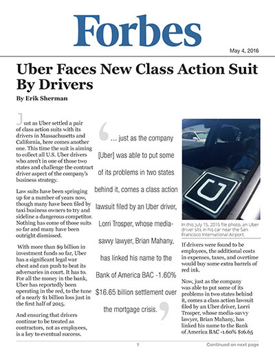 Uber Faces New Class Action Suit By Drivers