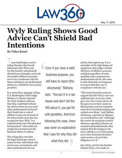 Wyly Ruling Shows Good Advice Can't Shield Bad Intentions