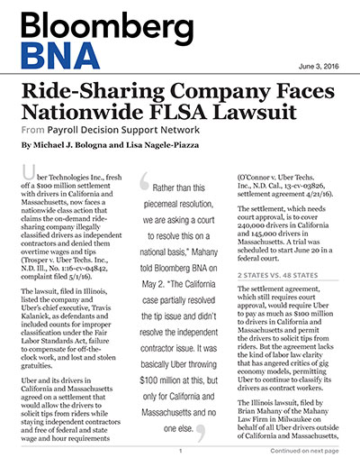 Ride-Sharing Company Faces Nationwide FLSA Lawsuit