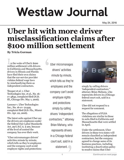 Uber hit with more driver misclassification claims after $100 million settlement