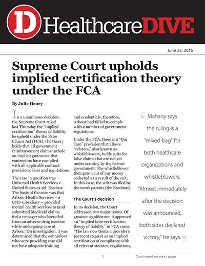 Supreme Court upholds implied certification theory under the FCA