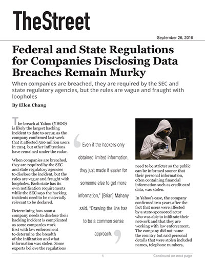 Federal and State Regulations for Companies Disclosing Data Breaches Remain Murky