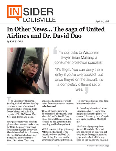 In Other News... The saga of United Airlines and Dr. David Dao