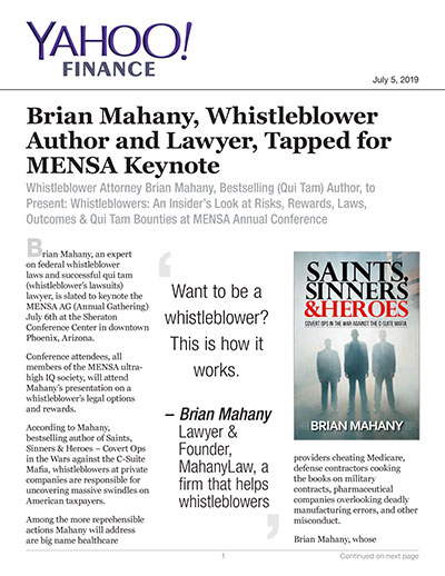 Brian Mahany, Whistleblower Author and Lawyer, Tapped for MENSA Keynote