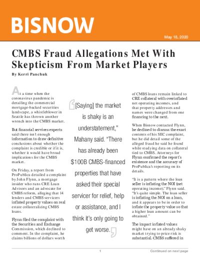 CMBS Fraud Allegations Met With Skepticism From Market Players