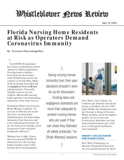 Florida Nursing Home Residents at Risk as Operators Demand Coronavirus Immunity