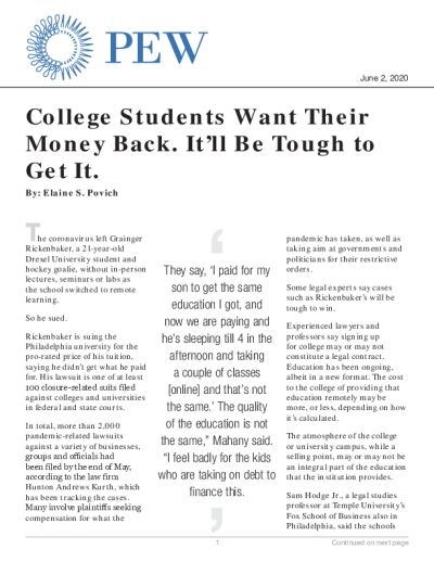 College Students Want Their Money Back. It'll Be Tough to Get It.