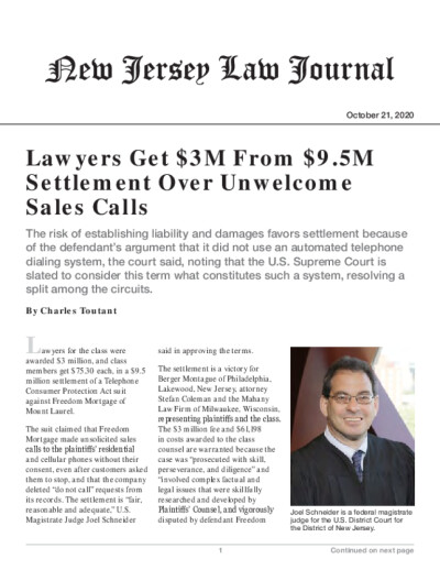 Lawyers Get $3M From $9.5M Settlement Over Unwelcome Sales Calls