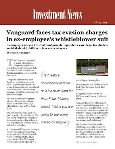 Vanguard faces tax evasion charges in ex-employee's whistleblower suit