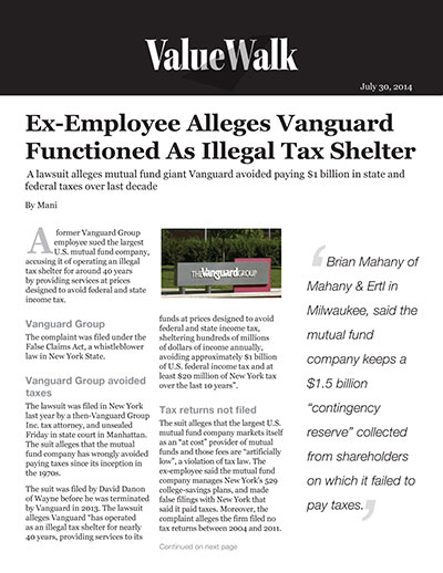 Ex-Employee Alleges Vanguard Functioned as Illegal Tax Shelter
