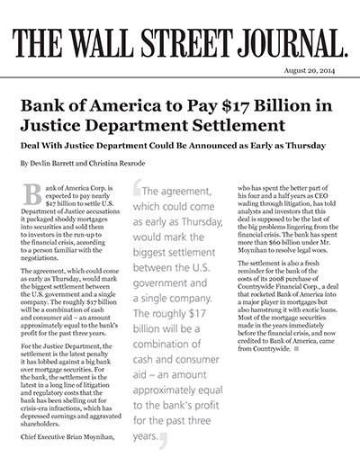 Bank of America to Pay $17 Billion in Justice Department Settlement