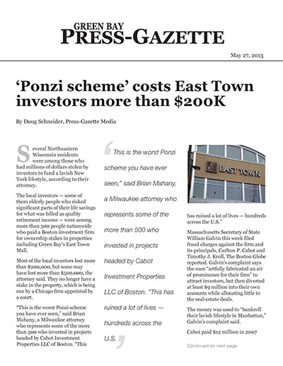 'Ponzi scheme' costs East Town investors more than $200K