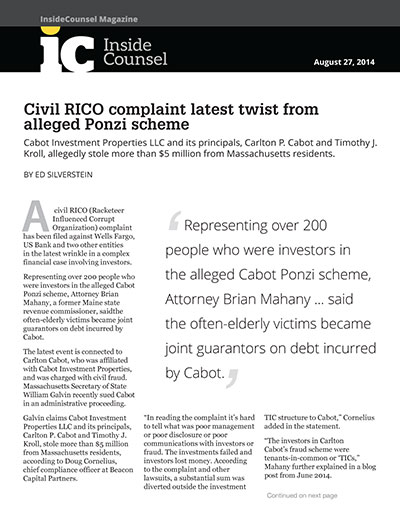 Civil RICO complaint latest twist from alleged Ponzi scheme