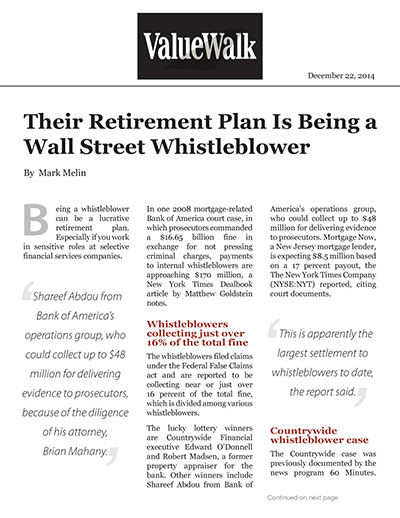 Their Retirement Plan Is Being a Wall Street Whistleblower