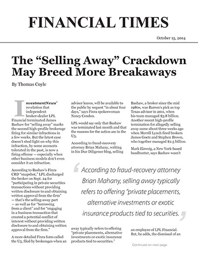 "The ""Selling Away"" Crackdown May Breed More Breakaways"