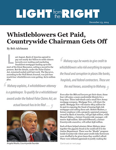 Whistleblowers Get Paid, Countrywide Chairman Gets Off