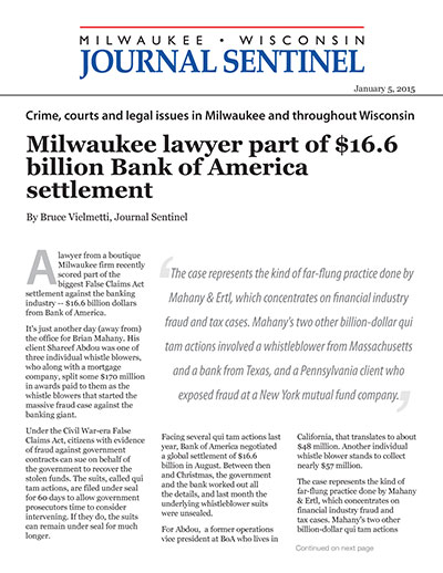 Milwaukee lawyer part of $16.6 billion Bank of America settlement