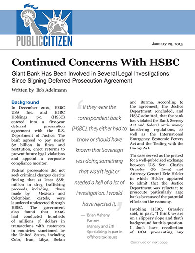 Continued Concerns With HSBC