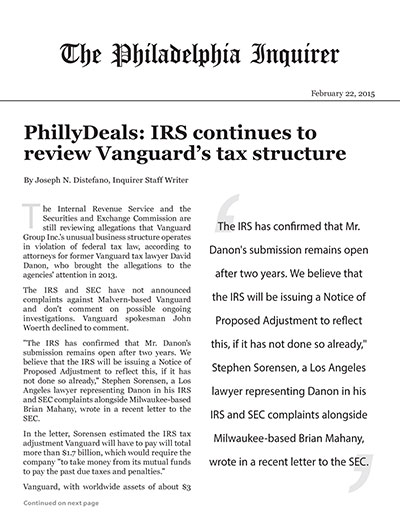PhillyDeals: IRS continues to review Vanguard's tax structure