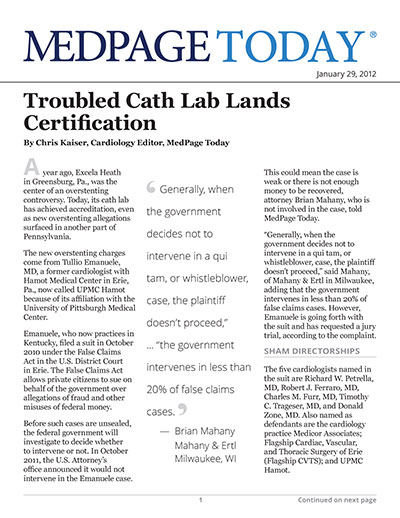 Troubled Cath Lab Lands Certification