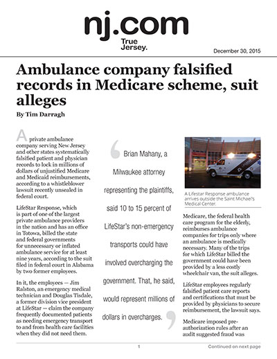 Ambulance company falsified records in Medicare scheme, suit alleges