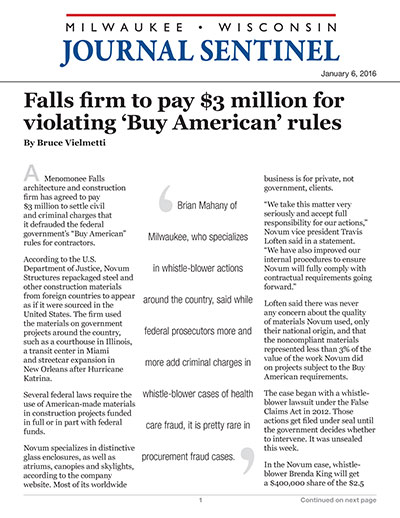 Falls firm to pay $3 million for violating 'Buy American' rules
