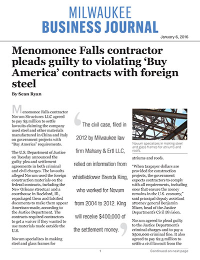 Menomonee Falls contractor pleads guilty to violating 'Buy America' contracts with foreign steel