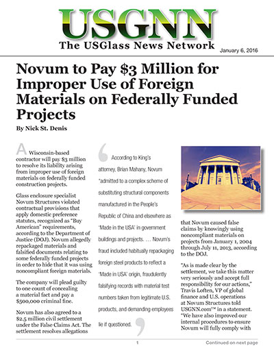 Novum to Pay $3 Million for Improper Use of Foreign Materials on Federally Funded Projects
