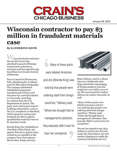 Wisconsin contractor to pay $3 million in fraudulent materials case