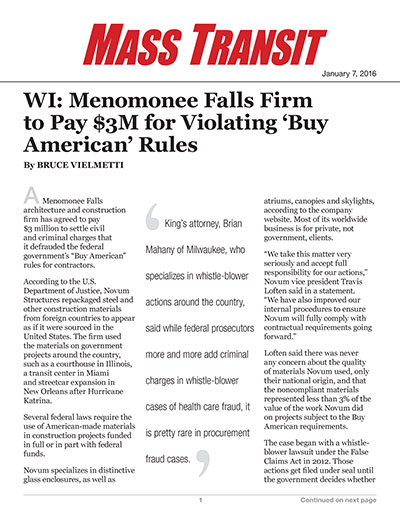 WI: Menomonee Falls Firm to Pay $3M for Violating 'Buy American' Rules