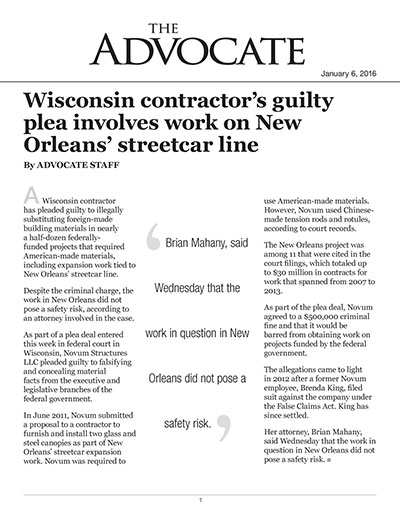 Wisconsin contractor's guilty plea involves work on New Orleans' streetcar line