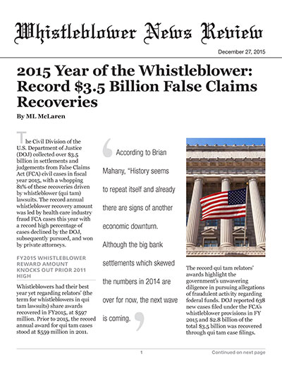 2015 Year of the Whistleblower: Record $3.5 Billion False Claims Recoveries