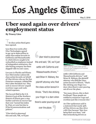 Uber sued again over drivers' employment status