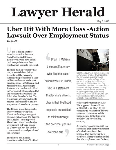 Uber Hit With More Class-Action Lawsuit Over Employment Status