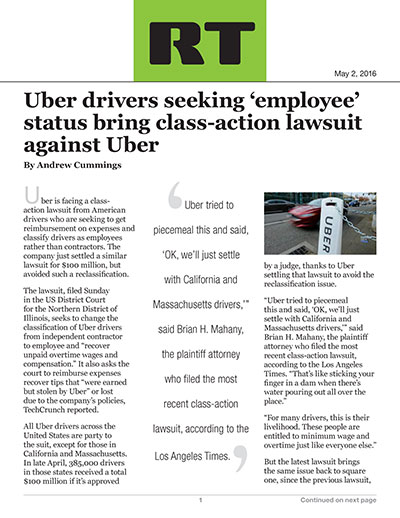 Uber drivers seeking 'employee' status bring class-action lawsuit against Uber